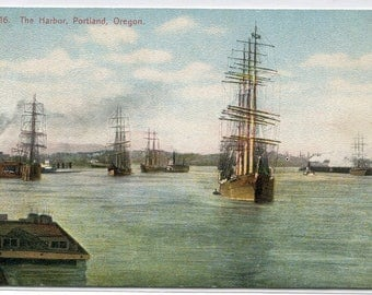 Sailing Ships Portland Harbor Oregon 1910c postcard