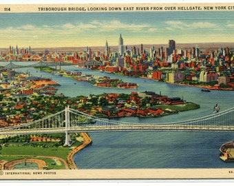 Triborough Bridge East River New York City NYC NY linen postcard