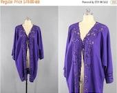SALE - Vintage Kimono Robe / Bali Cutwork / Wrapper Dressing Gown Wedding Loungewear / Purple Floral Embroidery