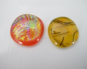 Two Red/Orange, Yellow, Uncalibrated, Dichroic glass cabochons
