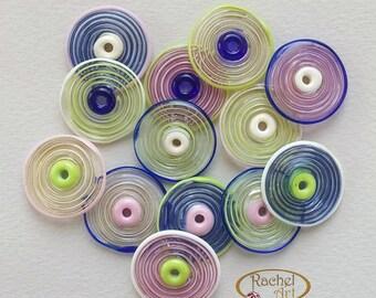 Glass Disc Beads, FREE SHIPPING, Set of Spiral Pink, Cobalt, Pea Green and Cream Handmade Lampwork Beads - Rachelcartglass