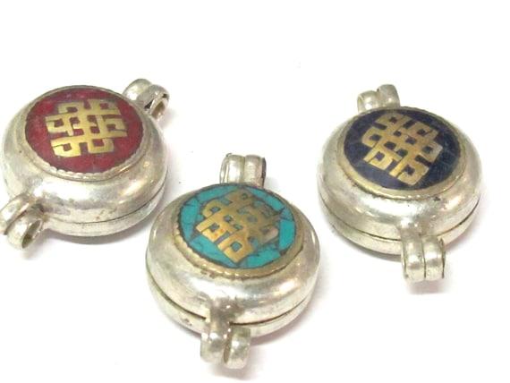 3 Pendants set - Tibetan silver Lapis  turquoise  coral inlaid Ghau prayer box Endless knot pendant - PM571A