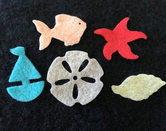 Beach Themed Felt Shapes-Party Favors-Beach Shaped Decorations-Bible Journaling-Planner-Embellishments-Iron On Applique-Felt Shapes