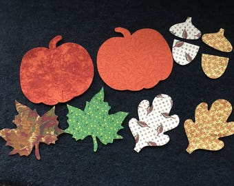 Fabric Pumpkins-Leaves-Acorns-Cotton Fabric Applique-Fall Thanksgiving Fabric Iron On Stickers-Quilting-Decorations-Fabric Embellishments