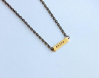 Brass Abide Bar Necklace