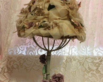Nice Pale Pink Hat with Velvet Flowers