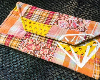 hand-painted diamond plaid envelope clutch, orange yellow and pink, 100% one of a kind! Made from recycled materials, eco friendly!