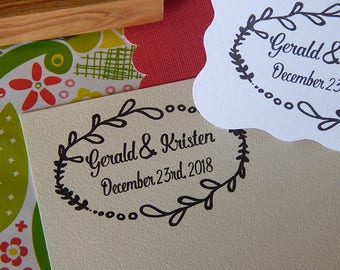 Custom Festive Framed Wedding  Stamp on Olive Wood