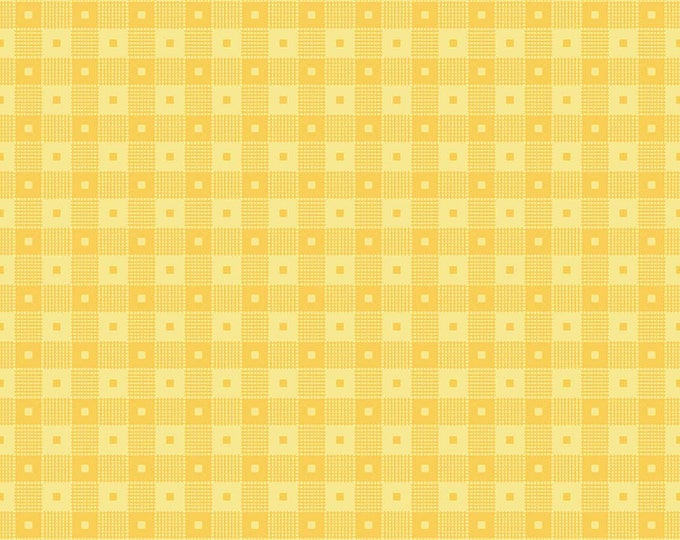 PRE-ORDER - Mae Flowers Fabric by Lindsay Wilkes from The Cottage Mama for Riley Blake Designs and Penny Rose Fabrics - Yellow Check