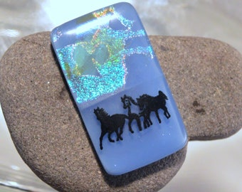 Fused Dichroic Glass Cabochon...HORSES...Cab for Jewelry Designers