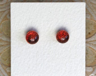 Dichroic Glass Earrings, Petite, Dark Red Candy DGE-1117