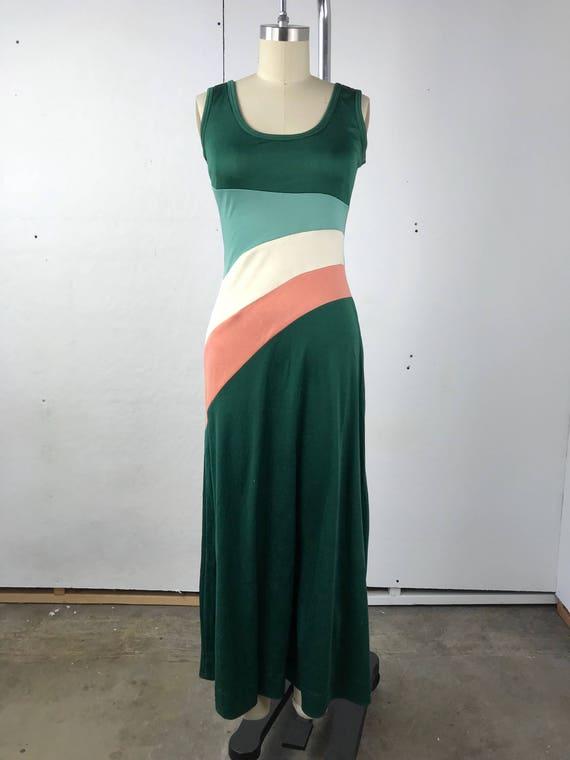 Asymmetrical Striped Maxi Dress