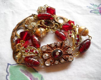 Repurposed Vintage Bracelet Red Rhinestones Art Deco Glass Beads Crystals Large Clasp FREE SHIPPING