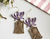 crown earrings virgin mary earrings purple crown religious earrings catholic earrings virgin mary medals bronze medals dangle CROWN MARY