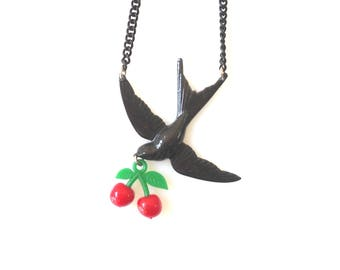 Red Cherry Charm Necklace with Black swallow Bird,  Gift for Her, Unique handmade statment jewelry