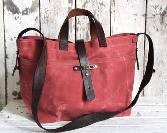 Waxed Canvas Diaper Bag, Radish Red, Crossbody Bag, Wax Canvas Tote, Gift for Him, Gift for Woman, Gift for Her , Autumn Gift for Her TT16
