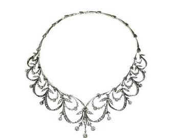 ON SALE Victorian Antique Diamond Necklace Parure 7 carat Diamond Rose Gold Silver Necklace Fine Antique Jewelry 1800s