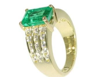 ON SALE Kutchinsky emerald ring yellow gold diamond Vintage designer ring thick band