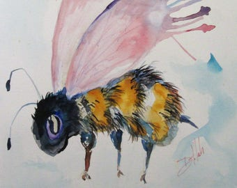 Fuzzy Bee original 11x11 watercolor painting Art by Delilah