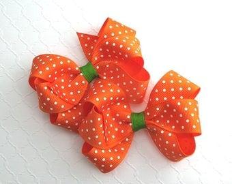 Halloween Hair Bows, Orange Pigtail Hair Bows, Pumpkin Hair Bows, Toddler Girls Twin Hair Bows
