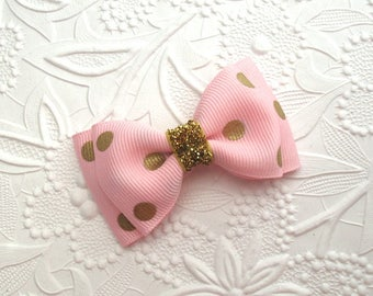 Pink and Gold Glitter Hair Bow ~ Baby Girl Toddlers Hair Bow Clip