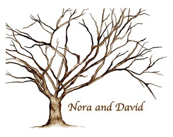 XX-Small (Nora and David)  Cherry Blossom Engagement Party Thumbprint Tree - Watercolor. Up to 80 guests: 11''x14'' .2 pens