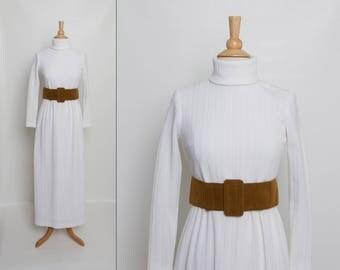 vintage 70s belted sweater dress | 1970s ivory turtleneck maxi dress