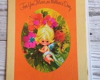 Vintage Mother's Day Card, Cute Girl, Cherub, 1970's, Unused