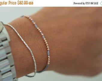 SALE 14k solid rose gold beaded friendship bracelet. Silk bracelet. fine jewelry.