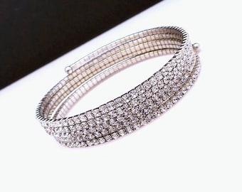 Bridal jewely wedding bracelet bridesmaid gift prom party christmas clear white round rhinestone setting rose rhodium silver coil bracelet