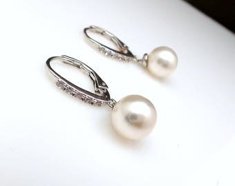 wedding jewelry bridal earrings christmas prom party bridesmaid gift swarovski 8mm round pearl cubic zirconia rhodium silver lever back