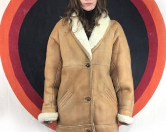 vintage leather sheepskin shearling fur coat jacket by LNR // size large