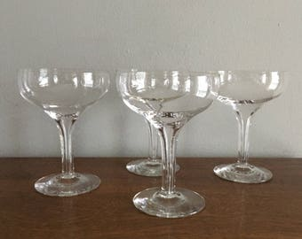 vintage hollow stem coupe champagne glass set of 4