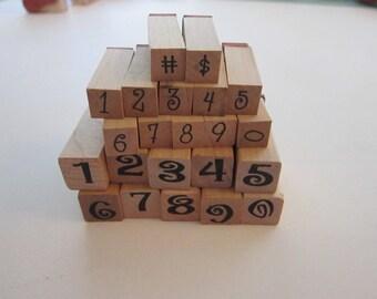 number stamps - peg stamps - rubber stamps - 2 sets
