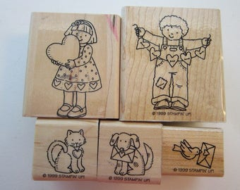 5 rubber stamps - From the Heart - Stampin Up 1999 - girl and boy with hearts, puppy, kitten, bird