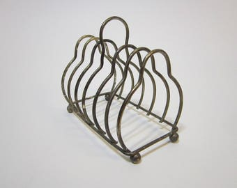 vintage silver plated TOAST rack, toast stand - letter stand, card holder - as is