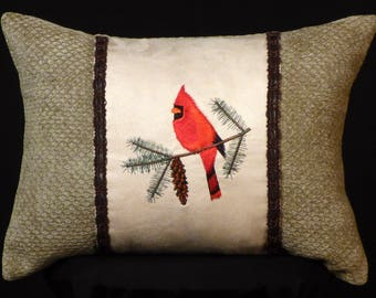 New Embroidered Sage Green Loon Pillow 12 x 16 Insert — Item 231