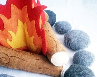 ON SALE Felt Campfire Plush Playset- flames, logs and rocks