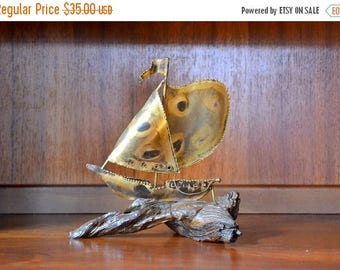 SALE 25% OFF vintage mid-century modern wood and metal ship figurine