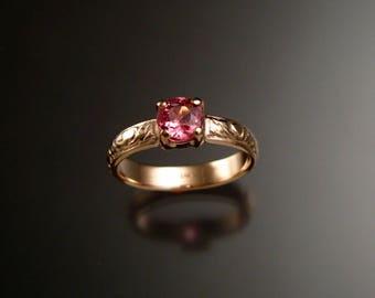Pink Tourmaline 14k Rose Gold Victorian floral pattern wedding engagement ring