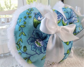 AQUA BLUE Powder Puff - white plush - pouf bleu - gift box option - handmade by Bonny Bubbles