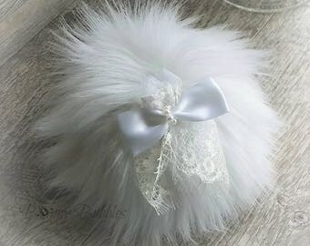 WHITE Powder Puff - pouf blanc - fluffy shabby chic style - for the bride - gift box option - handmade by BonnyBubbles