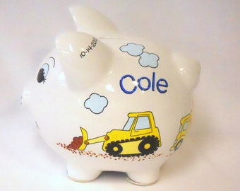 Personalized Piggy Bank with Yellow Bulldozer, Dump Truck, Cement Truck Construction Vehicles