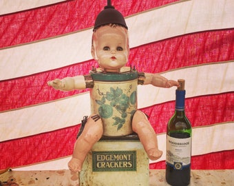 """Tin Lizzy / Composition Doll / Vintage Tins / 24"""""""