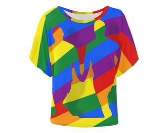 Love is Love! Batwing Tee | Bright Rainbow Print Top | LGBTIQ Pride | Size XS S M L XL 2XL 3XL 4XL | Easy Fit | Unique Designer Fashion