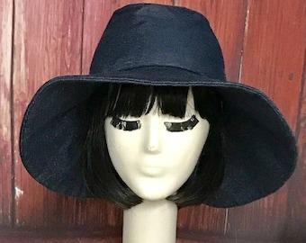 Fedora Hat, wide brim denim hat, sun hat, panama hat, wide brim fedora, denim hat, beach hat, floppy hat, boho hat, summer hat, Packable Hat