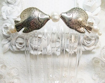 Large Kissing Fish with Pearls Large French Hair Comb Fascinator in Clear