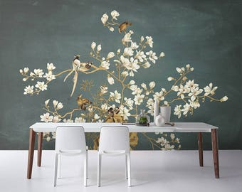 "Oriental Chinoiserie Magnolia & Birds Wallpaper White Pink Blossoms Wall Mural 129.5"" x 93.7"""