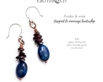 Anubis & Wine stone earrings