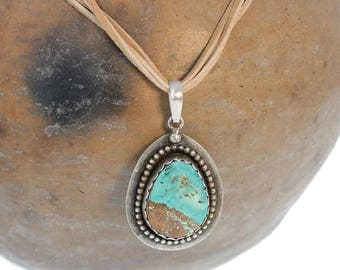 Summer Sale : ) ROYSTON TURQUOISE PENDANT Necklace Aqua Blue Teardrop NewWorldGems